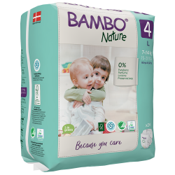 Bambo Nature Diapers Size 4 (7-14 Kg), 24 diapers