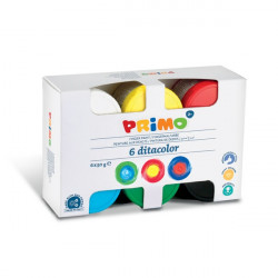 Primo 6 Assorted Finger Paints 50gPots and Brush in Pp Case